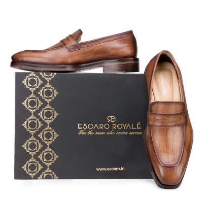 Wooden Finish Handpainted Tan Penny Loafer