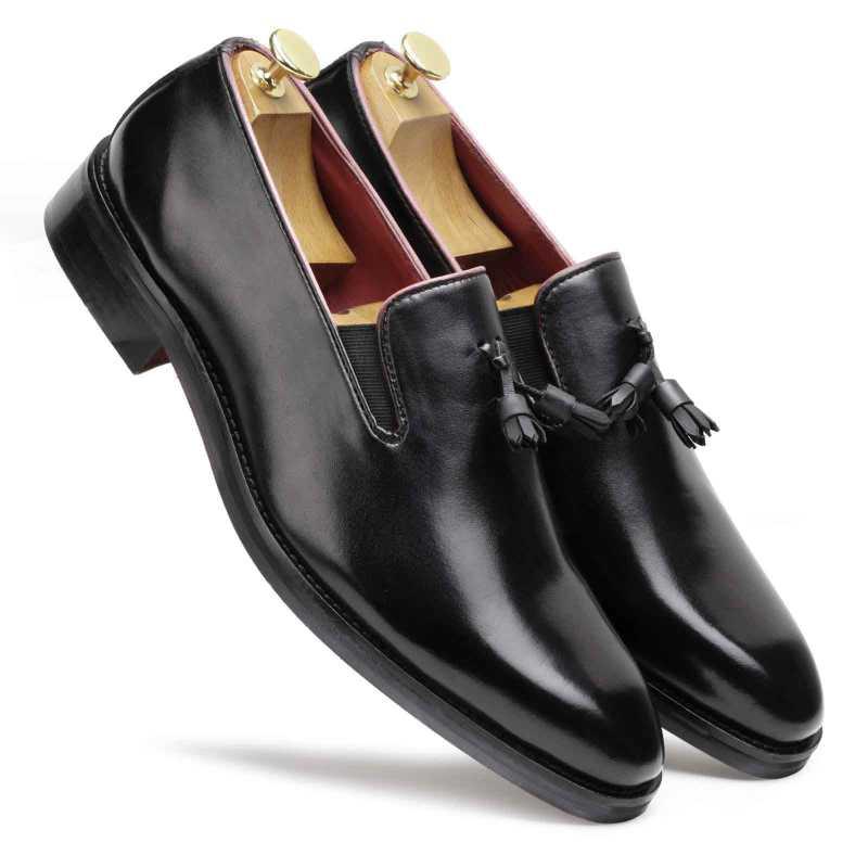 Handpainted Black Tassel Loafer