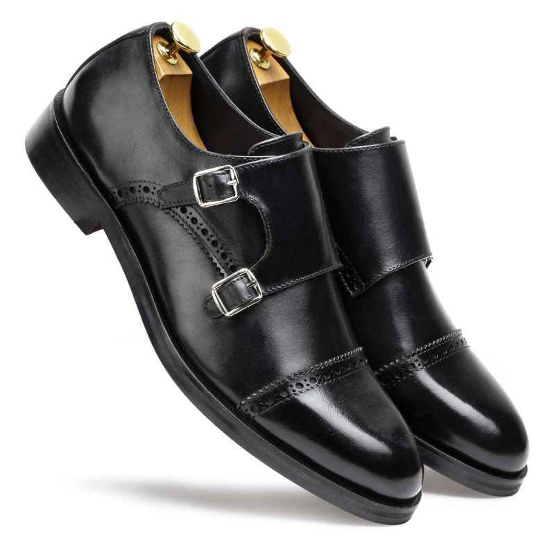 Black Designer Double Monkstrap