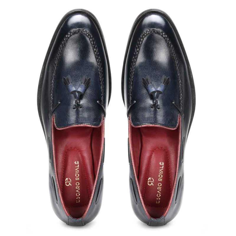 Blue Braided Tassel Designer Loafer