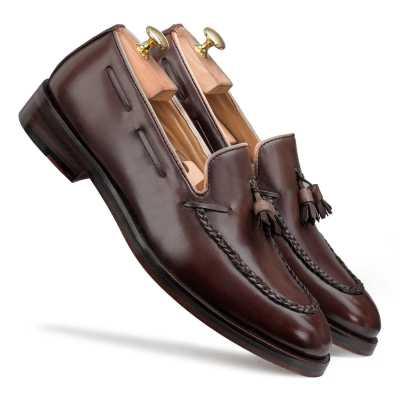 Dark Brown Braided Tassel Designer Loafer
