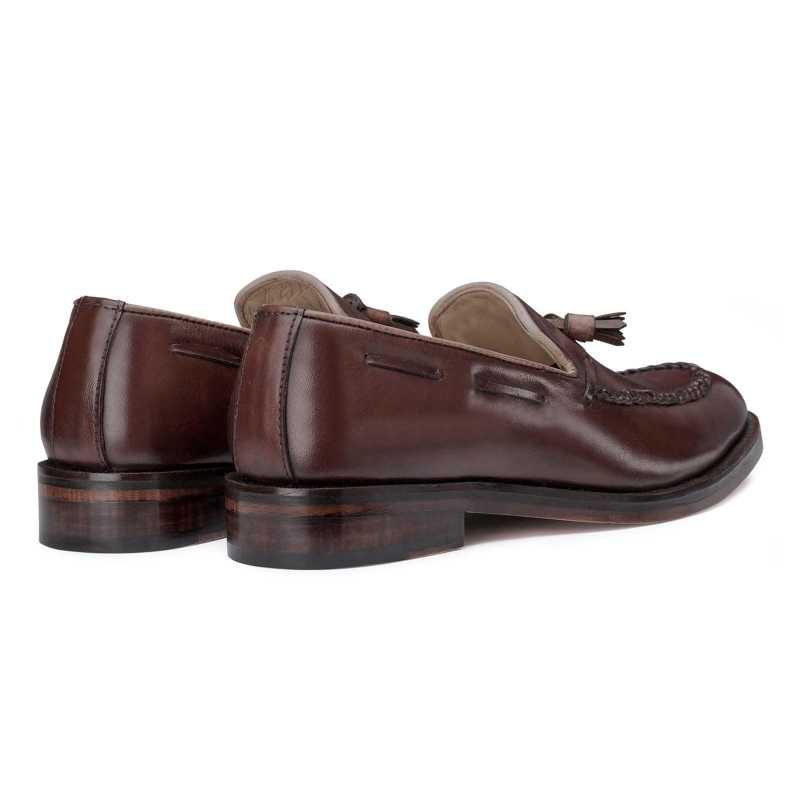 Dark Brown Braided Tassel Designer Loafer