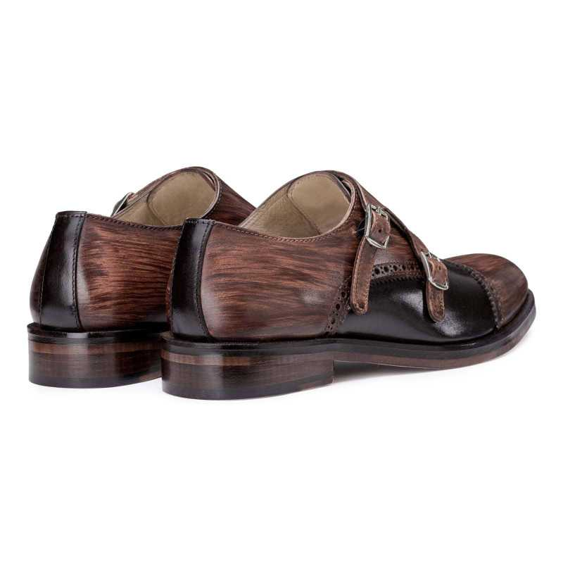 Brown-Black Wooden Finish Double Monkstrap