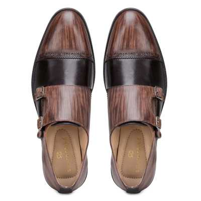Brown-Black Wooden Finish Double Monkstrap