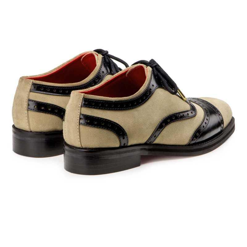 Dual Round Toe Cream Oxfords