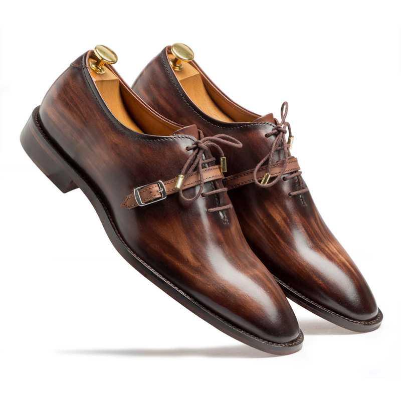 Thin-Strap Dark Brown Wooden Oxford