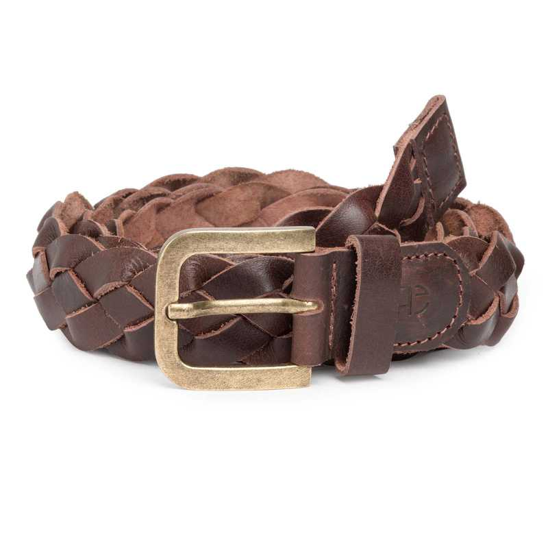 Thick Cross-Braided Brown Leather Belt