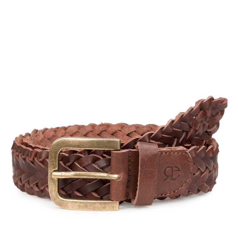 Dark Brown Round Braided Leather Belt