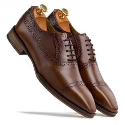 Dark Tan Captoe Oxfords