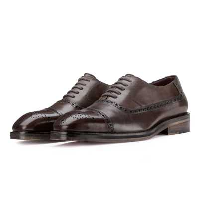 """Barzini"" Dark Chocolate Medallion Captoe Oxford"