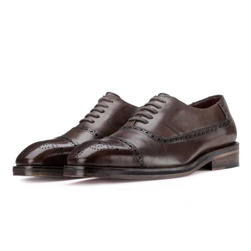 Barzini Dark Chocolate Medallion Captoe Oxford