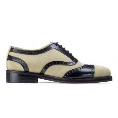Dual Round Toe Cream Oxfords