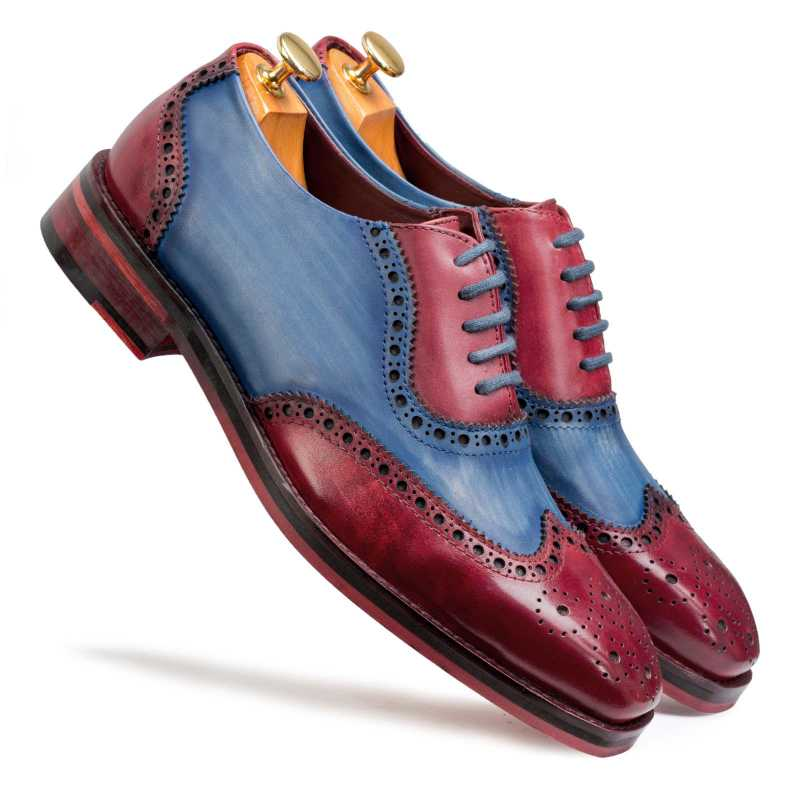 Santino Medallion Cherry-Blue Wingtip Brogues