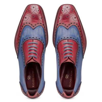 """Santino"" Medallion Cherry-Blue Wingtip Brogues"