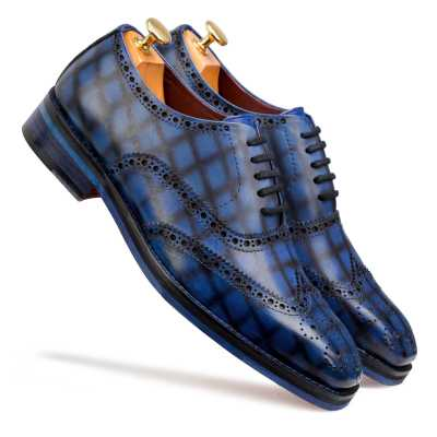 """Corleone"" Handpainted Check Blue Brogues"