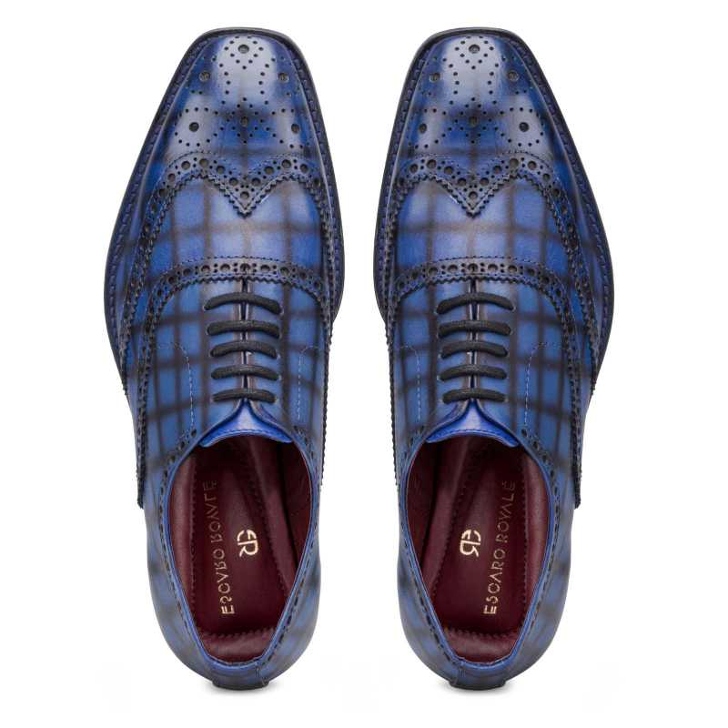 Corleone Handpainted Check Blue Brogues