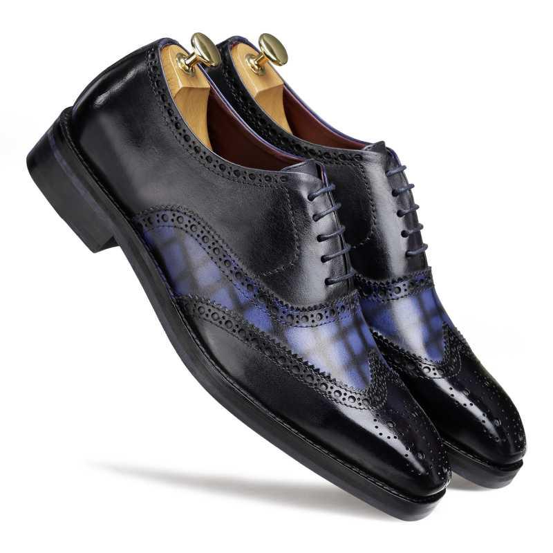 'Amato' Handpainted Black & Blue Check Brogues