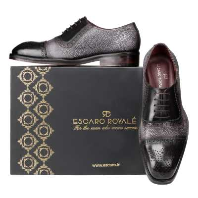 'Coppa' Medallion Captoe Dual-Textured Black Oxfords