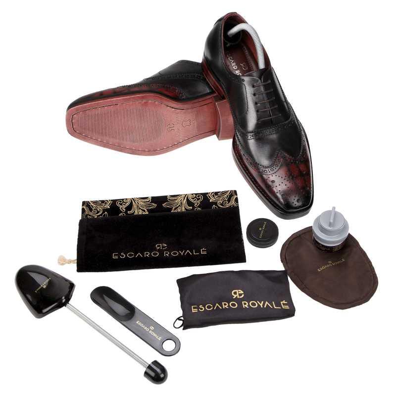 Ralph Handpainted Check Black & Burgundy Brogues