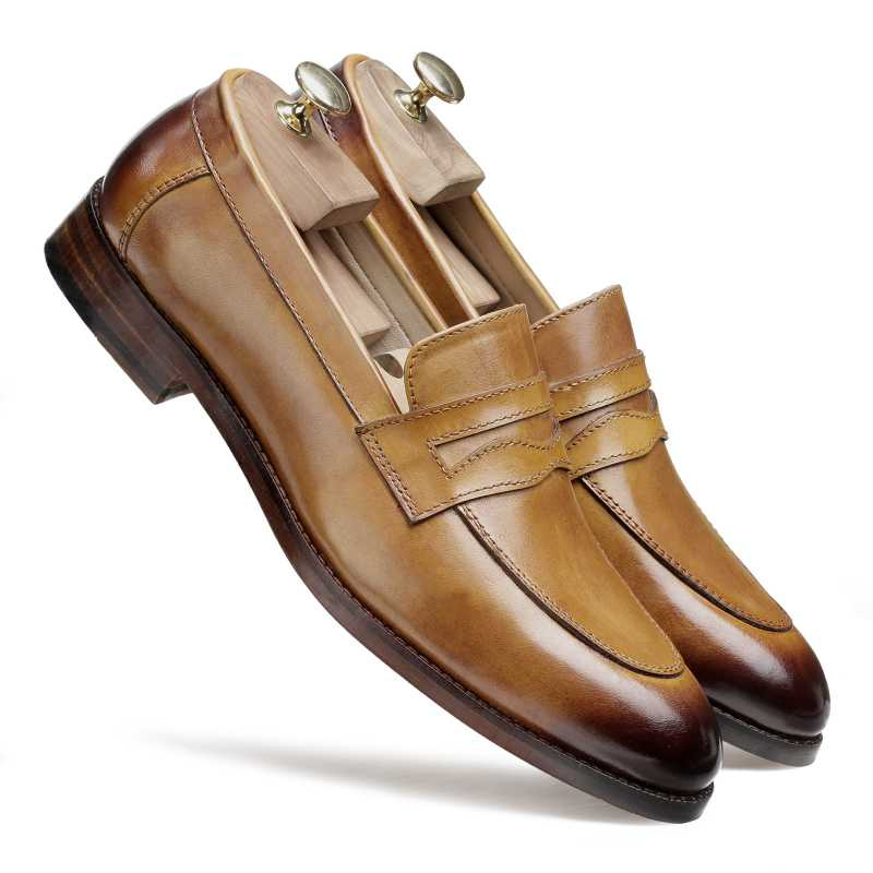 Charles Dual-Tone Tan Penny Loafers