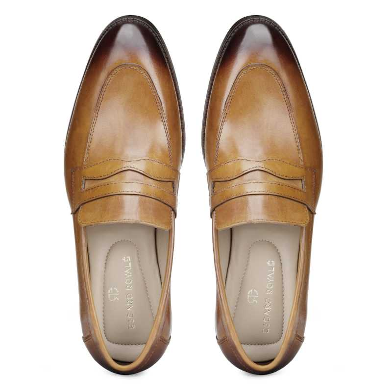 'Charles' Dual-Tone Tan Penny Loafers