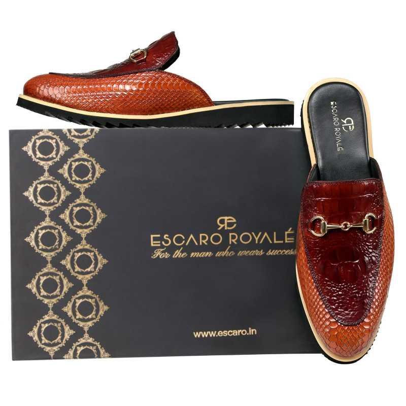 The Hale Slippers Mules Cognac - Escaro Royale