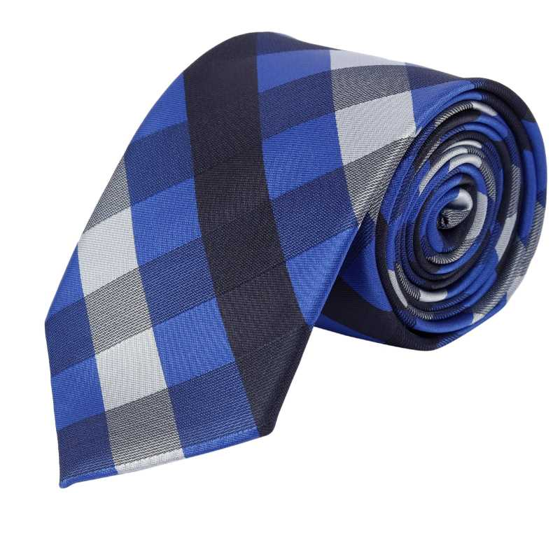 Cruz Blue Check Tie - Escaro Royale