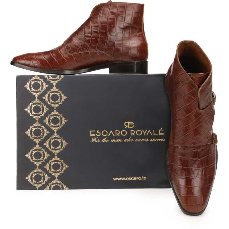 The Branco Ankle Boot in Brown - Escaro Royale