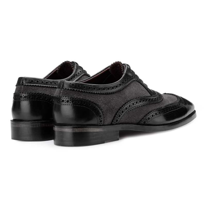 The London Wingtip Brogues in Black-Gray