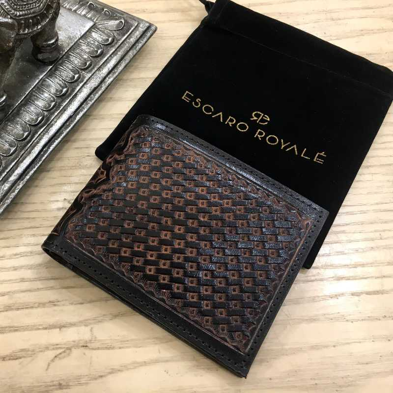The DeepGrid Hand-Tooled Leather Bi-Fold Wallet - Escaro Royale