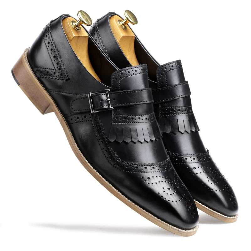 Black Full Grain Leather Kiltie Monkstrap shoes