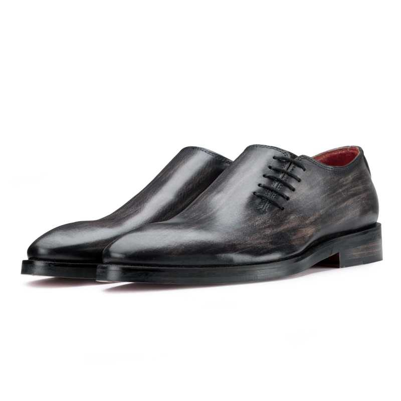 Side-Laceup Black-Gray Ashwood Wholecut Oxford