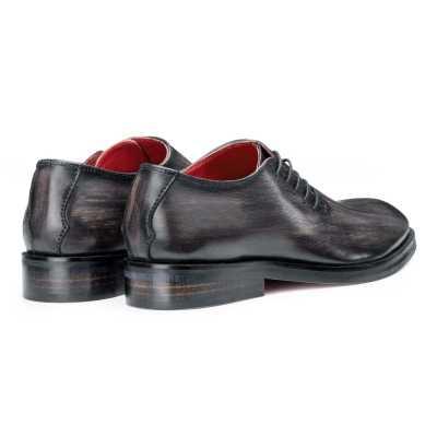 Side-Laceup Black-Gray Ashwood Wholecut Oxford