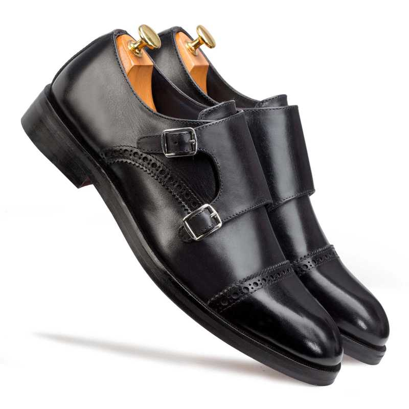 Black Designer Double Monkstrap