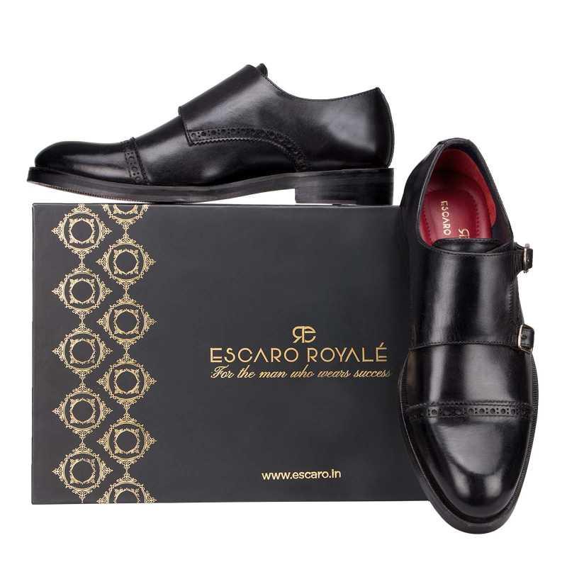 Black Designer Double Monkstrap - Escaro Royale