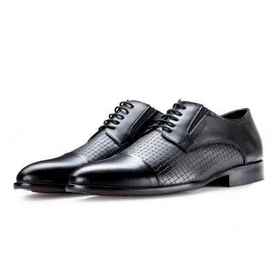 Spector – Classic Black Designer Derby CapToe Shoes