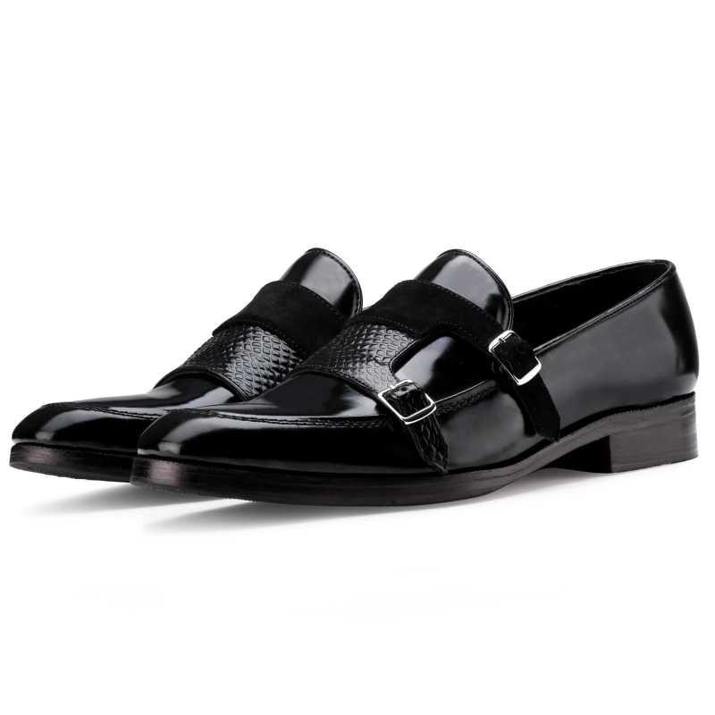 The Erikson Double Monk Designer Slip On in Black