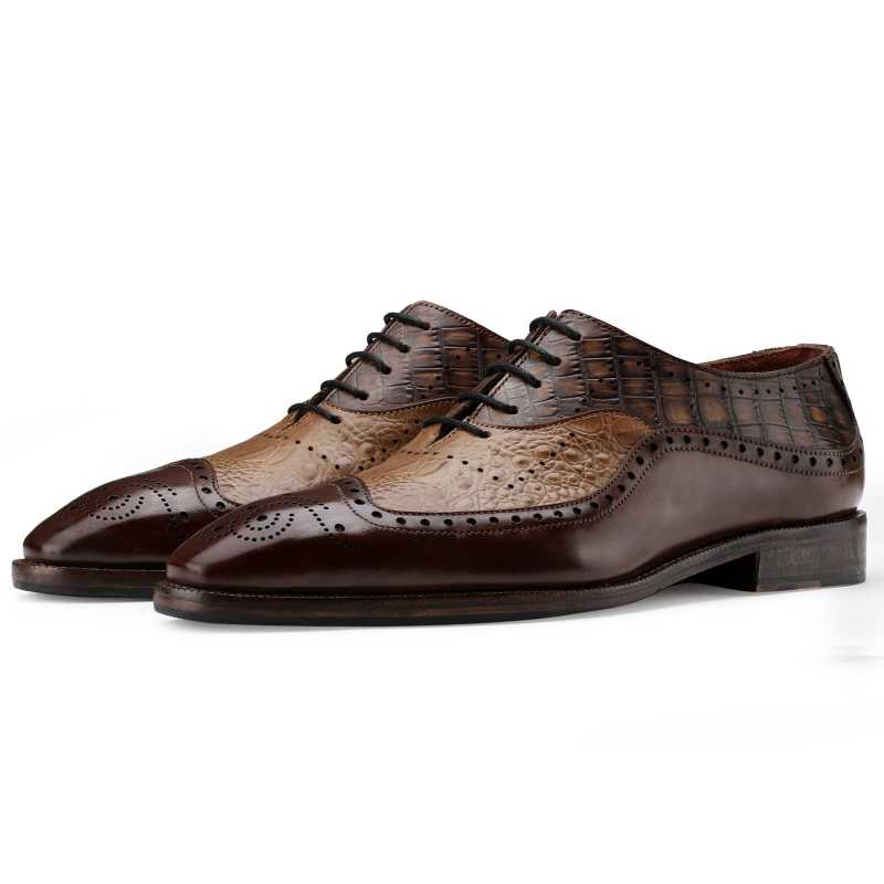 The Cabot Tripple Textured Oxford in Brown Tan - Escaro Royale