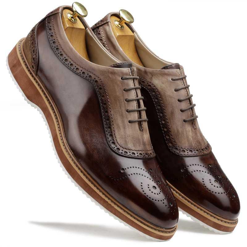 The Cortes Designer Oxford in Brown - Escaro Royale