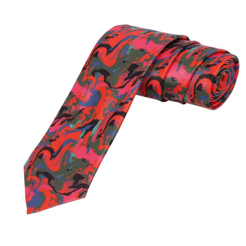 Broady Red Floral Tie - Escaro Royale