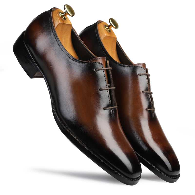 SABRE Goodyear Welted Fiddleback WHOLECUT OXFORDS IN BROWN Patina - Escaro Royale