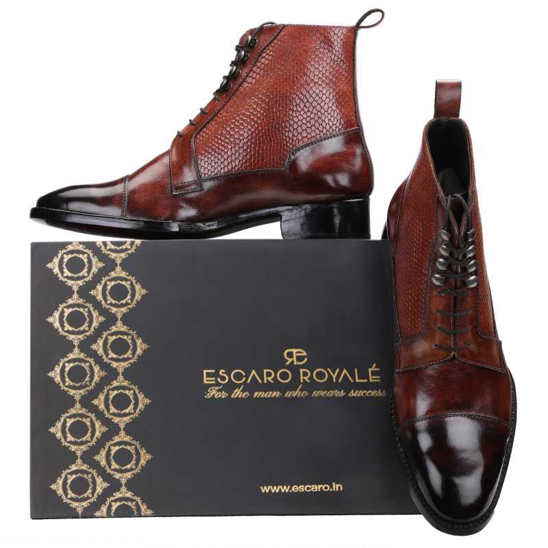 Goodyear Welted Colonel Boot In Brown - Escaro Royale