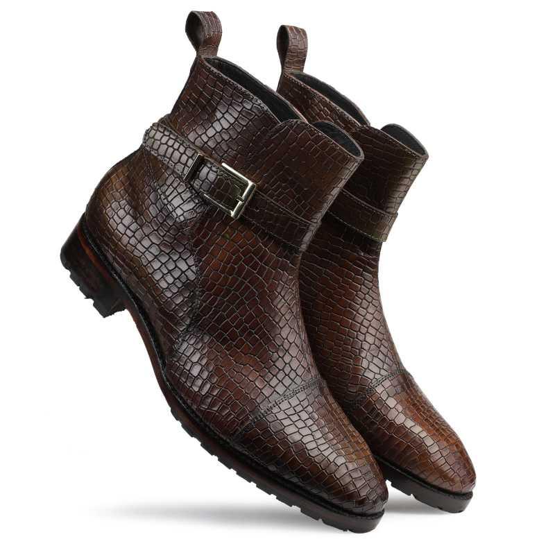 Jodhpur Boot In Patina Scales Olive - Escaro Royale