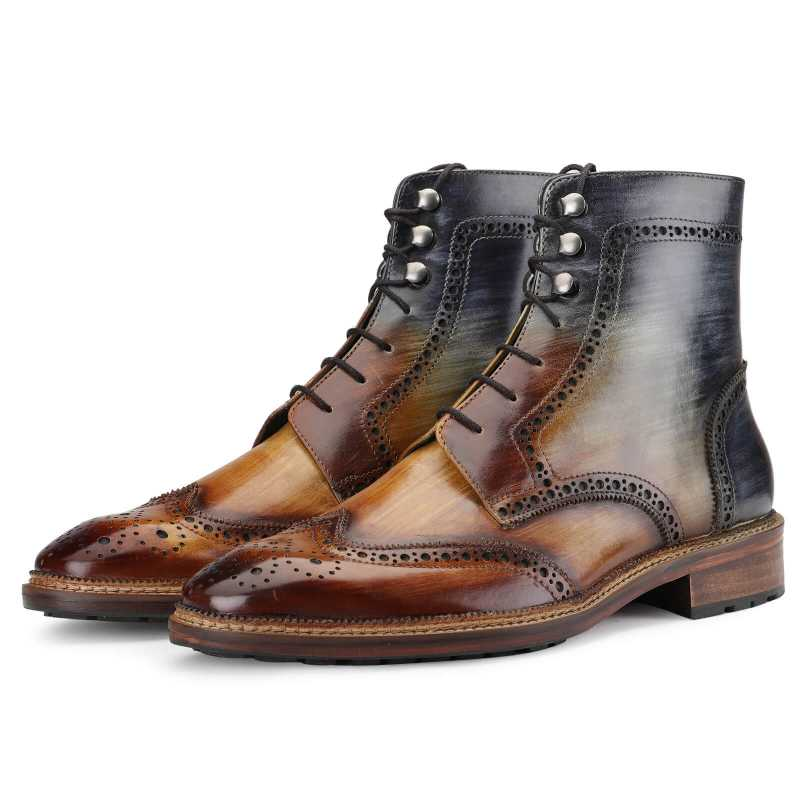 Aurora Wingtip Lace Up Boot in Wood Finish