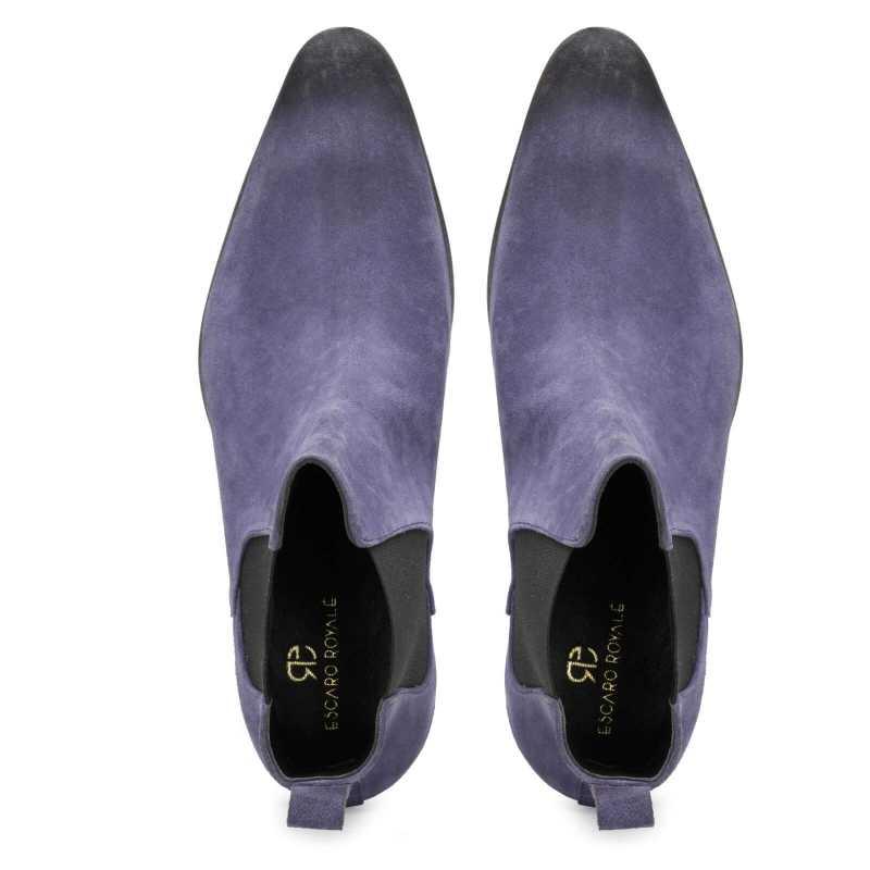 Iceman Chelsea Boots in Blue Suede - Escaro Royale