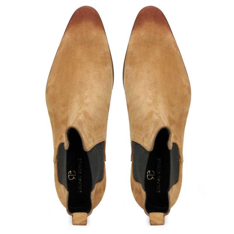 Iceman Chelsea Boots in Camel Color Suede - Escaro Royale