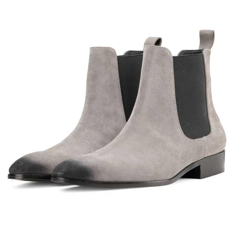 Iceman Chelsea Boots in Grey Suede - Escaro Royale