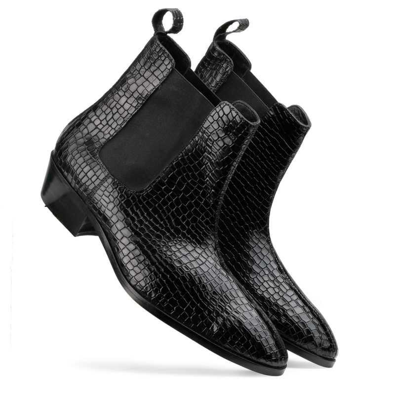 Maverick Chelsea Boots in Black with Cuba Heel - Escaro Royale