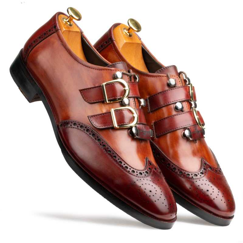 Tyler Wingtip Laceup Shoes with Dual Straps in Cognac - Escaro Royale