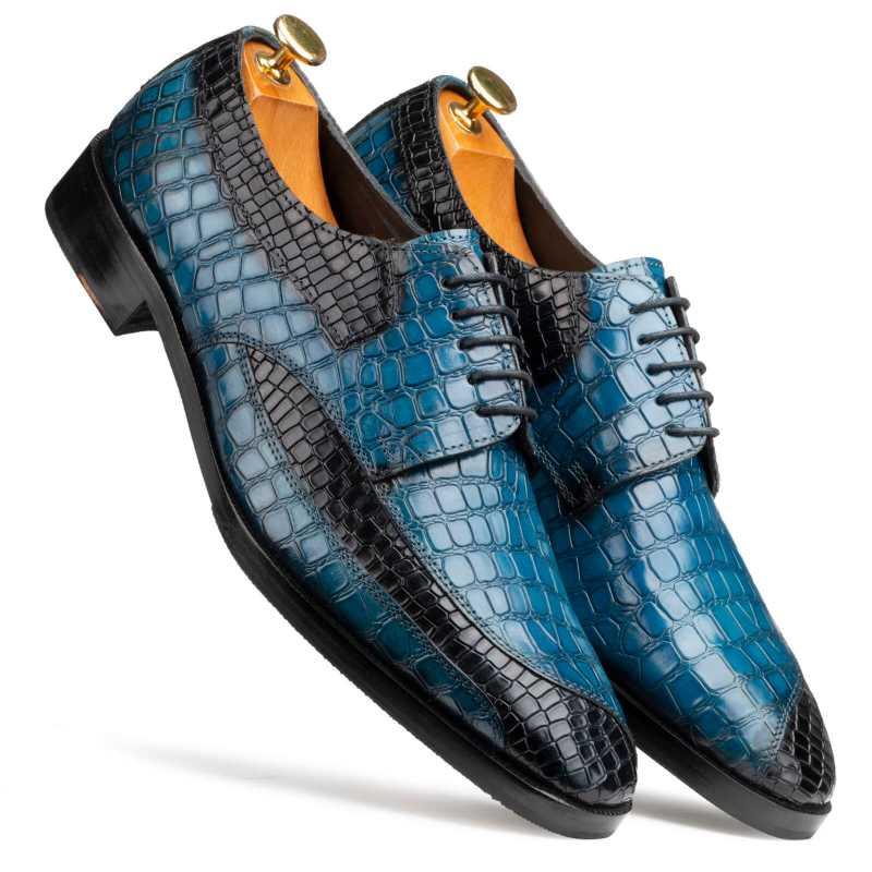Ross Derby Shoes in Blue & Black - Escaro Royale